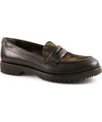 Mocassins Car Shoe femme en cuir noir et camouflage