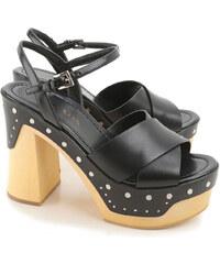 Sandales Prada en Cuir noir avec plate-forme en bois