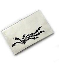 GM Collection Pouzdro na vizitky s kameny Swarovski Silver Wave-Black