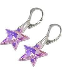 Náušnice s kameny Swarovski STAR EAR ROSALINE AB