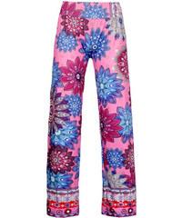 LM moda Dámské vzorované kalhoty růžové