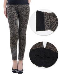 LM moda Zimní, zateplené legíny hnědé leopard 24-02