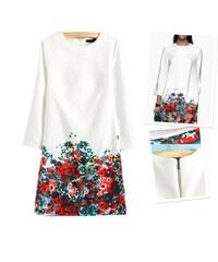 Lesara Kleid mit Blumen-Muster - Weiß - S