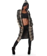 Neuvedena Dámský pletený kabátek s kapucí hnědý