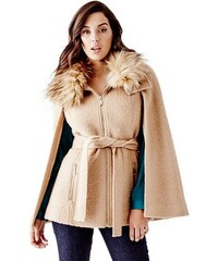 Guess Kabát Nadia Belted Cape with Faux-Fur Collar