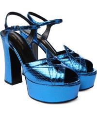 Sandales à talon Saint Laurent en elaphe Bleu intense