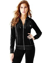 Guess Mikina Corely Velour Zip-Up Hoodie
