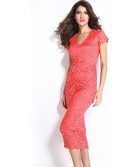 Světle červené krajkové midi šaty