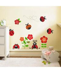 Housedecor Samolepka na zeď Berušky s květinami