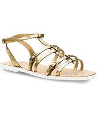 Spartiates Car Shoe femme en cuir vieilli couleur or