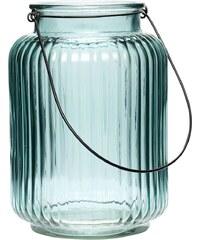 Hübsch Skleněná lucerna s vroubky Blue