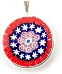 Murano Přívěsek skleněný - stříbro 925 - červená, růžová, modrá, bílá - Millefiori 26