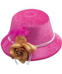 Dámský klobouk s květem neonově růžový