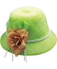 Dámský klobouk s květem neonově zelený