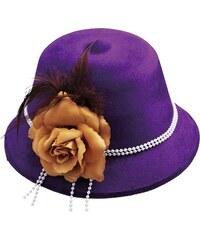 Dámský klobouk s květem fialový
