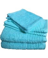 Dyckhoff Handtuch Set Brillant mit Streifenbordüre blau 6tlg.-Set B (siehe Artikeltext)