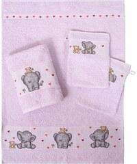 Dyckhoff Handtuch Set Elefant mit Elefantenbordüre lila 4tlg.-Set (siehe Artikeltext)