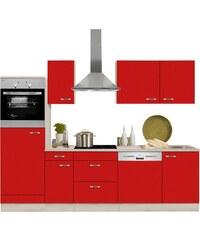 Küchenzeile mit E-Geräten Faro Breite 270 cm OPTIFIT rot