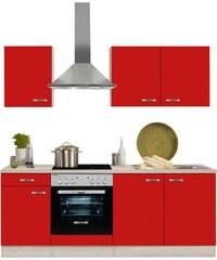 Küchenzeile mit E-Geräten Faro Breite 210 cm OPTIFIT rot