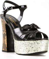 Sandales à talons hauts Saint Laurent en cuir noir
