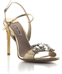 Sandales à talons hauts Miu Miu en cuir Platine