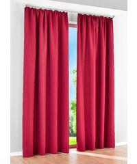 bpc living Lot de 2 panneaux Uni Microfibres, galon fronceur rouge maison - bonprix