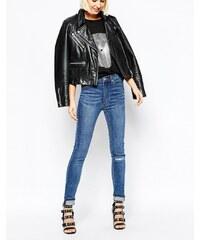 Cheap Monday - Jean skinny seconde peau à taille haute avec déchirures aux genoux - Bleu