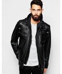 Schott - Veste en cuir avec capuche intégrée - Noir