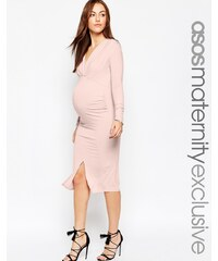 ASOS Maternity - GAMZE - Midikleid mit Rüschen, langen Ärmeln und Schlitz - Rosa