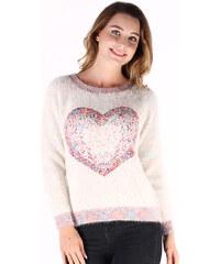 Lesara Chenille-Pullover mit Herz-Motiv - Weiß - S