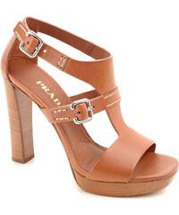 Sandales à plateforme Prada en cuir couleur Cuir