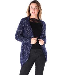Lesara Langer Cardigan im Chenille-Look - Blau - S