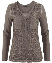 LAURA SCOTT 2 in 1 langarmshirt Vintageoptik Mit Spitze