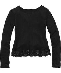 ARIZONA Langarmshirt mit Häkelspitze am Saum für Mädchen