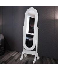 Bílé nastavitelné stojící zrcadlo Bria