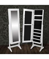 Bílé stojící zrcadlo se šperkovnicí Makaila