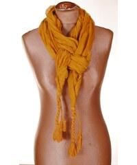 Import Import Jednobarevný šátek s copánky žlutý 061-12