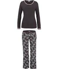 LASCANA Langer Pyjama schwarz mit rosa Spitze und edlem Kontrastprint