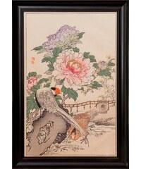 G&C G&C gerahmter Kunstdruck Bairei: Fasan & Peony Motiv 1 46/71 cm bunt