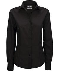 Popelínová košile s dlouhým rukávem - Černá XS