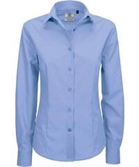 Popelínová košile s dlouhým rukávem - Modrá XS