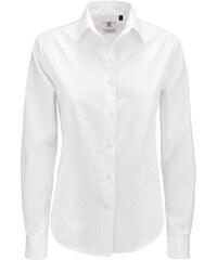 Popelínová košile s dlouhým rukávem - Bílá XS