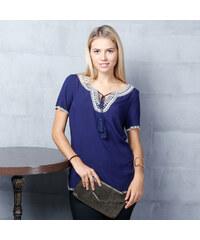 Lesara Shirt mit Folklore-Musterdetail - Dunkelblau - S – 38