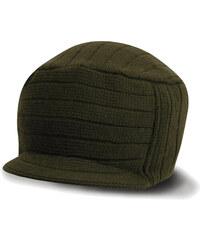 Vlněná čepice s kšiltem - Olive univerzal