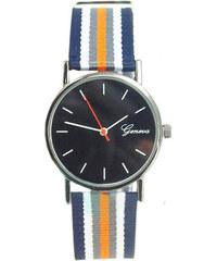 Pruhované hodinky modro-oranžové