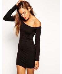 ASOS - Robe courte moulante à manches longues avec encolure Bardot et épaules dénudées - Noir