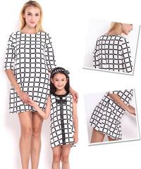 Lesara Kleid mit 3/4-Ärmeln Schwarz-Weiß - M