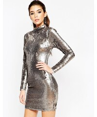 ASOS Night - Robe courte style polo ornée de sequins - Marron