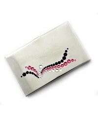 GM Collection Pouzdro na vizitky s kameny Swarovski Silver Wave-Pink