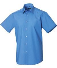 Popelínová košile s krátkým rukávem - Modrá S